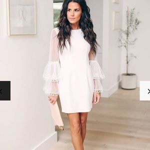 NWT White VICI dress, bridal bell sleeves